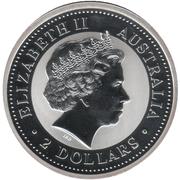 2 Dollars - Elizabeth II (4th Portrait -  Year of the Horse - Silver Bullion Coin) -  obverse