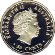 50 Cents - Elizabeth II (Year of the Rooster) -  obverse