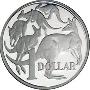 1 Dollar - Elizabeth II (4th Portrait - Masterpieces in Silver - Five Kangaroos) -  reverse