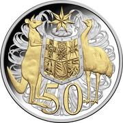 50 Cents - Elizabeth II (4th Portrait - 50th Anniversary of Decimal Currency) -  reverse