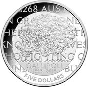 5 Dollars - Elizabeth II (4th Portrait - Gallipoli Landing - Silver Proof) -  reverse
