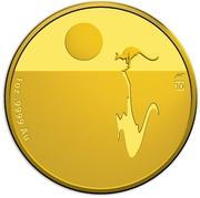 100 Dollars - Elizabeth II (4th Portrait - Kangaroo Sunset - Gold Bullion Coin) -  reverse