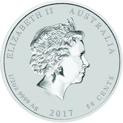 50 Cents - Elizabeth II (4th Portrait - Year of the Rooster - Silver Bullion Coin) -  obverse