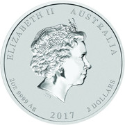2 Dollars - Elizabeth II (4th Portrait - Year of the Rooster - Silver Bullion Coin) -  obverse
