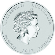 8 Dollars - Elizabeth II (Year of the Rooster) -  obverse
