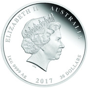 30 Dollars - Elizabeth II (Year of the Rooster) -  obverse