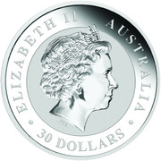 30 Dollars - Elizabeth II (4th Portrait - Australian Kookaburra - Silver Bullion Coin) -  obverse
