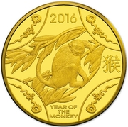 10 Dollars - Elizabeth II (4th Portrait - Year of the Monkey - Gold Proof) -  reverse