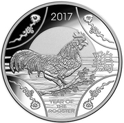 1 Dollar - Elizabeth II (4th Portrait - Year of the Rooster - Silver Proof) -  reverse