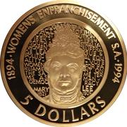 5 Dollar - Elizabeth II (The Enfranchisement of Women) -  reverse
