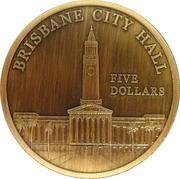 "5 Dollars - Elizabeth II (""Town Halls"" Brisbane City Hall) -  reverse"