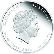 50 Cents - Elizabeth II (4th Portrait - Year of the Horse - Colourised) – obverse
