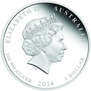 "50 Cents - Elizabeth II (""Lunar Year Series II"" Silver Bullion Coinage; colourized) -  obverse"