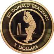 5 Dollar - Elizabeth II (Sir Donald Bradman Tribute) – reverse