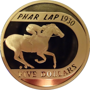 5 Dollar - Elizabeth II (70th Anniversary of Phar Lap's 1930 Melbourne Cup Win) -  reverse
