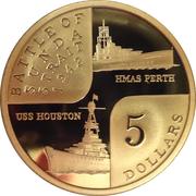 5 Dollars - Elizabeth II (Battle of Sunda Strait) -  reverse