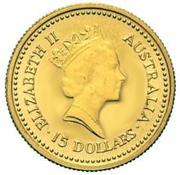 "15 Dollars - Elizabeth II (""Australian Nugget"" Gold) -  obverse"