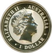 1 Dollar - Elizabeth II (4th Portrait - Australian Kookaburra - Square Penny Privy) -  obverse