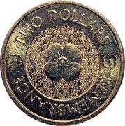 2 Dollars - Elizabeth II (Remembrance Day - Poppy Flower) -  reverse