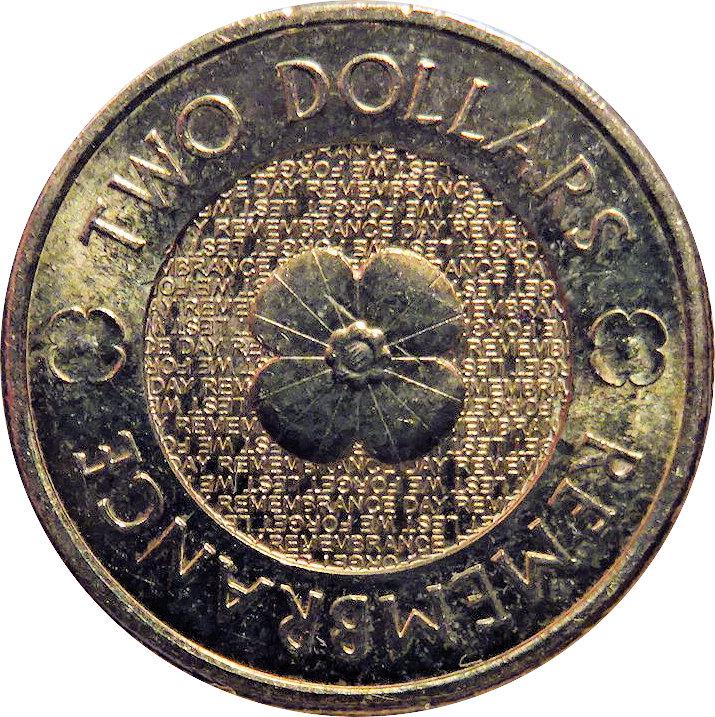 2 Dollars Elizabeth Ii Remembrance Day Poppy Flower Australia Numista