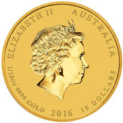 15 Dollars - Elizabeth II (4th Portrait - Year of the Monkey - Gold Bullion Coin) -  obverse