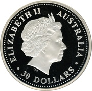 30 Dollars - Elizabeth II (4th Portrait - Year of the Pig - Silver Bullion Proof) -  obverse