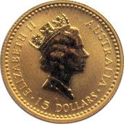 "15 Dollars - Elizabeth II (""Australian Kangaroo"" Gold Bullion Coinage) -  obverse"