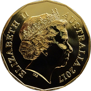 50 Cents - Elizabeth II (4th Portrait - Year of the Rooster Gold Plated) -  obverse