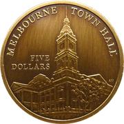 "5 Dollars - Elizabeth II (""Town Halls"" Melbourne Town Hall) -  reverse"