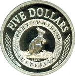 5 Dollars - Elizabeth II (4th Portrait - Port Phillip Patterns - Masterpieces in Silver) -  reverse
