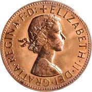 "1 Penny - Elizabeth II (1st portrait; with ""F:D:"") -  obverse"