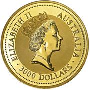 "3000 Dollars - Elizabeth II (""Australian Nugget"" Gold Bullion Coinage) -  obverse"