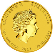 50 Dollars - Elizabeth II (4th Portrait - Year of the Rooster - Gold Bullion Coin) -  obverse