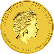 1000 Dollars - Elizabeth II (4th Portrait - Year of the Rooster - Gold Bullion Coin) -  obverse