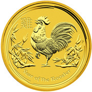1000 Dollars - Elizabeth II (4th Portrait - Year of the Rooster - Gold Bullion Coin) -  reverse