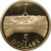 5 Dollars - Elizabeth II (Parliament House) -  reverse