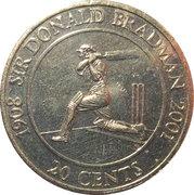 20 Cents - Elizabeth II (Sir Donald Bradman) -  reverse