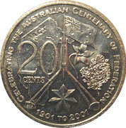 20 Cents - Elizabeth II (Centenary of Federation - Australian Capital Territory) -  reverse