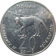 20 Cents - Elizabeth II (Centenary of Federation - Tasmania) -  reverse