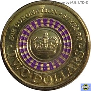 2 Dollars - Elizabeth II (4th Portrait - Coronation Jubilee) -  reverse
