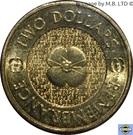 2 Dollars - Elizabeth II (4th Portrait - Remembrance Day - Plain Poppy Flower) – reverse