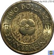 2 Dollars - Elizabeth II (4th Portrait - Remembrance Day - Plain Poppy Flower) -  reverse