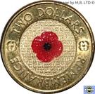 2 Dollars - Elizabeth II (4th Portrait - Remembrance Day - Red Poppy Flower) – reverse