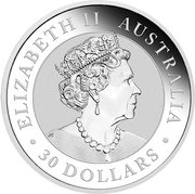 "30 Dollars - Elizabeth II (6th Portrait - ""Kookaburra"" Silver Proof) -  obverse"