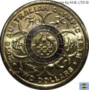2 Dollars - Elizabeth II (4th Portrait - 2016 Australian Olympic Team - Black) -  reverse