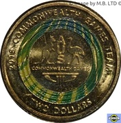 2 Dollars - Elizabeth II (4th Portrait - XXI Commonwealth Games - Team Logo) -  reverse