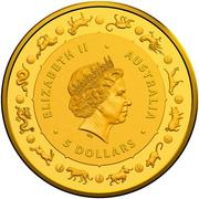 5 Dollars - Elizabeth II (4th Portrait - Year of the Rat - Gold Bullion Coin) -  obverse