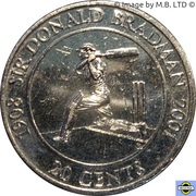 20 Cents - Elizabeth II (4th Portrait - Sir Donald Bradman) -  reverse