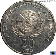 20 Cents - Elizabeth II (3rd Portrait - United Nations) -  reverse