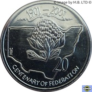 20 Cents - Elizabeth II (4th Portrait - Centenary of Federation - New South Wales) -  obverse